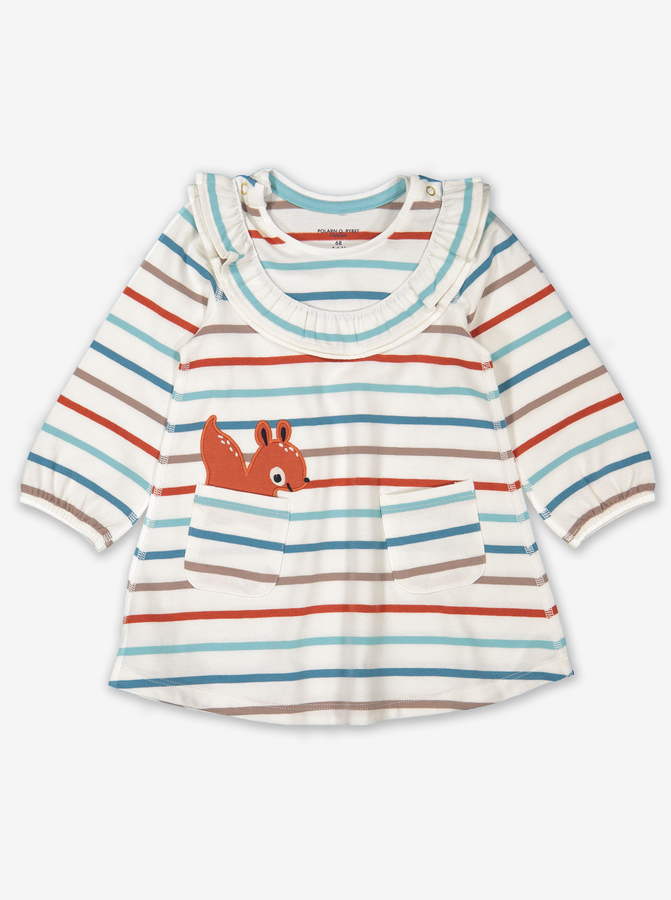 Appliqu㉠Squirrel Baby Dress Blue
