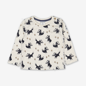 Badger Print Baby Top Blue