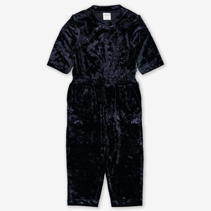 Crushed Velour Kids Jumpsuit Blue