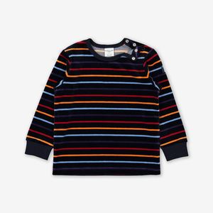 Striped Velour Kids Top  Blue