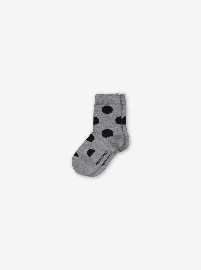 Polka Dot Merino Kids Socks Black