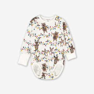 Christmas Lights Baby Bodysuit Natural
