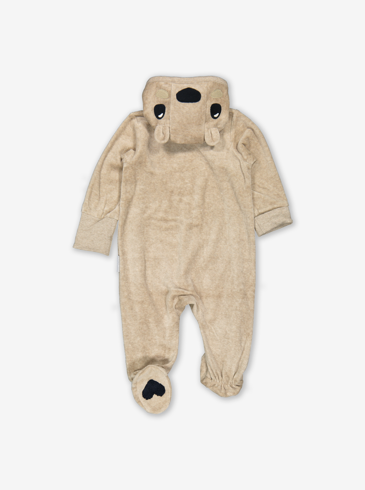 Velour Embroidered Baby All-In-One Brown