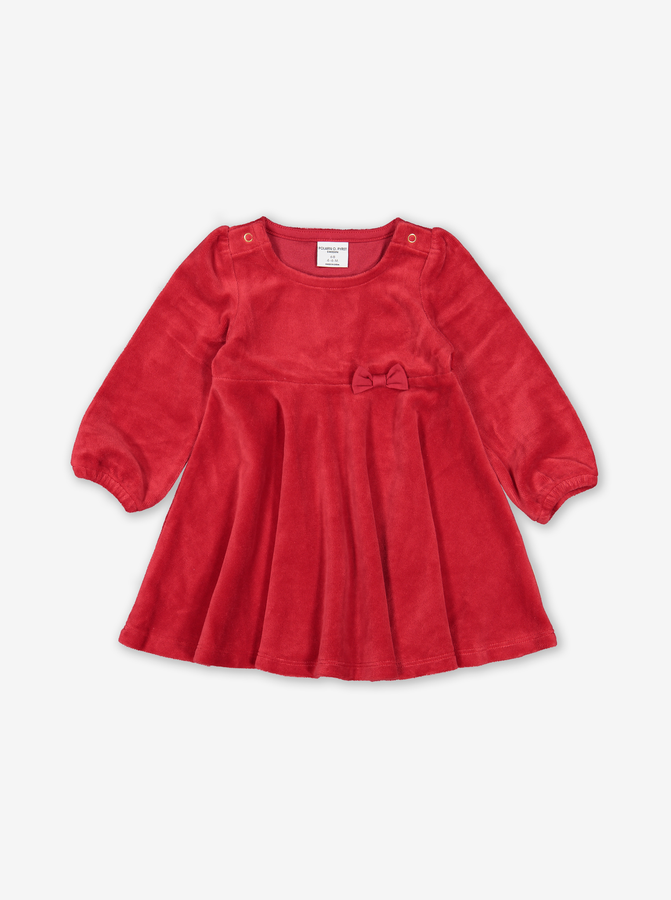 Velvet Baby Party Dress Red