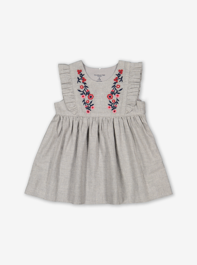 Scandi Embroidery Baby Dress Grey