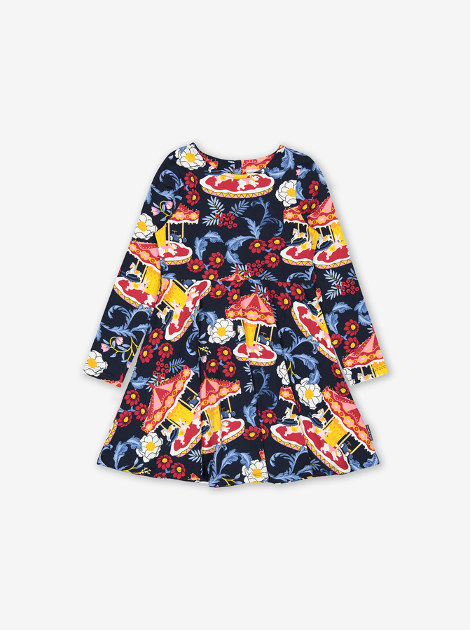 Carousel Print Kids Dress Blue