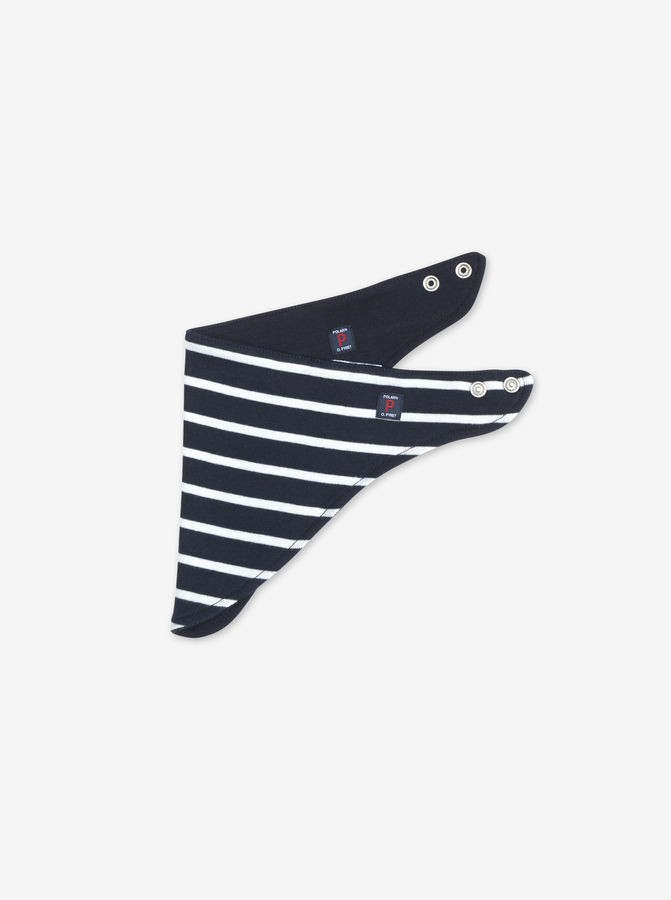 Striped Dribble Bib Navy Unisex One Size