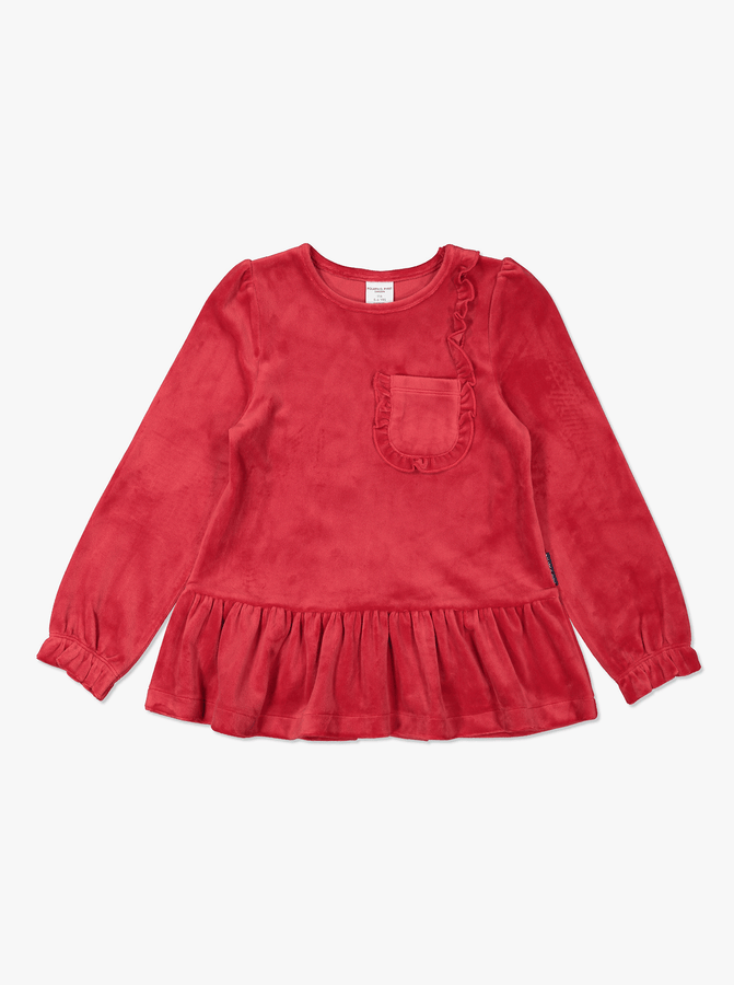 Ruffle Velour Kids Top Red