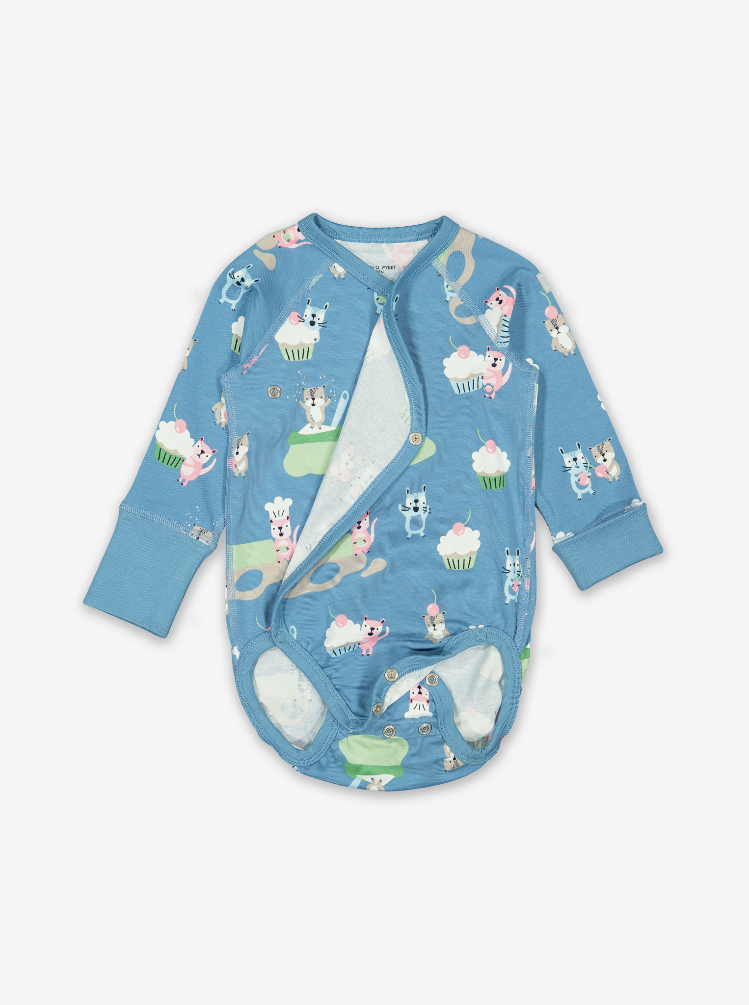 Cookie Bears Wraparound Baby Bodysuit-Unisex-0-6m-Blue