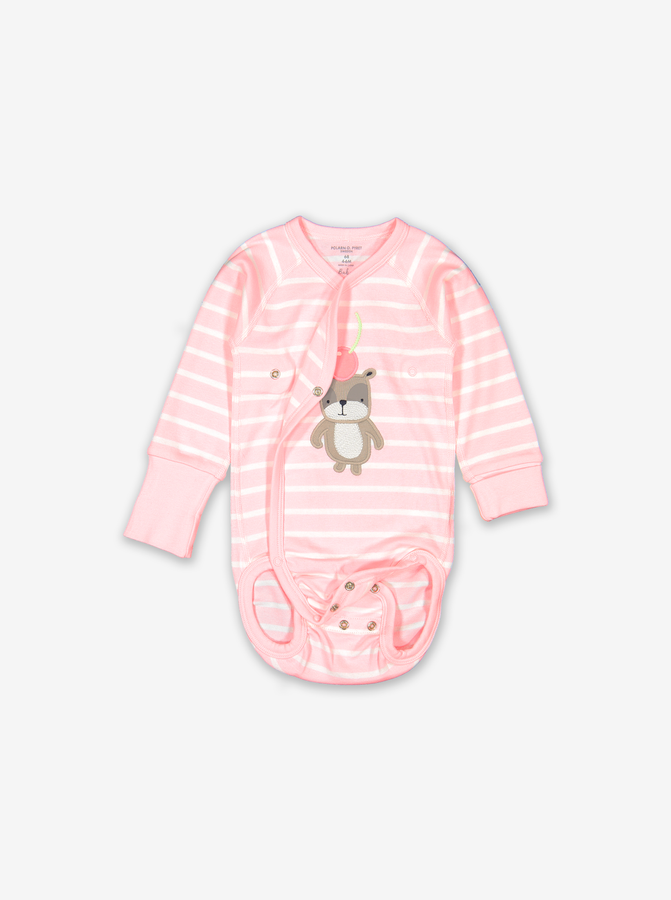 Striped Appliqu㉠Wraparound Baby Bodysuit-Girl-0-6m-Pink
