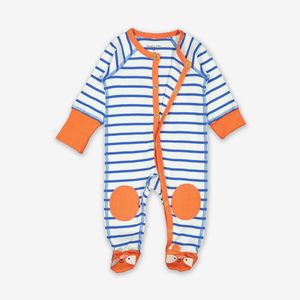 Striped Baby All-In-One-Unisex-0-1y-White