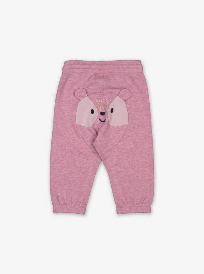 Appliqu㉠Bear Baby Joggers-Girl-0-1y-Purple