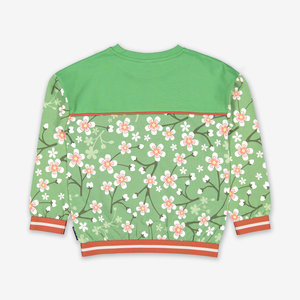 Cherry Blossom Kids Sweatshirt-Girl-1-8y-Green