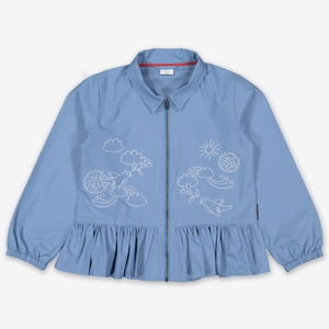 Embroidered Kids Utility Jacket-Girl-1-6y-Blue