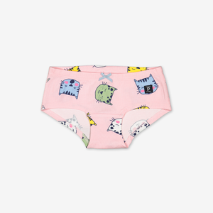 Sleepy Cat Girls Hipster Briefs-Girl-1-12y-Pink