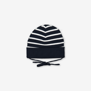 Striped Baby Hat-Unisex-Blue-1-9m