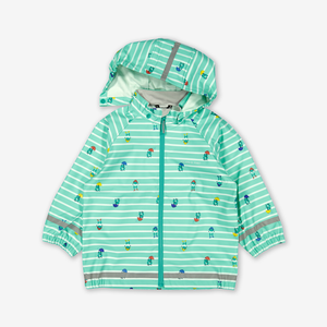 A green, kids waterproof raincoat with frog & stripes design, which comes with a detachable hood and elastic cuffs.