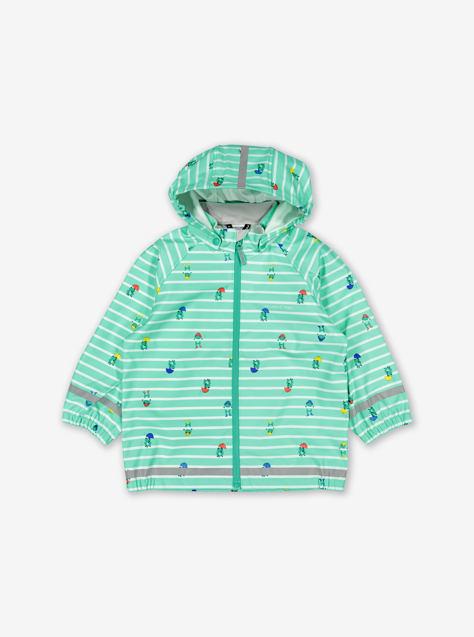 Green, kids raincoat with frog & stripes pattern, made of polyester, and comes with a detachable hood and elastic cuffs