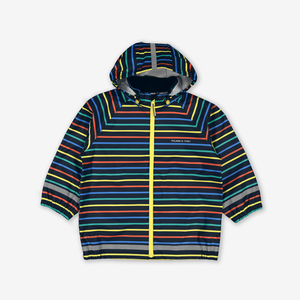 Multi Stripe Waterproof Kids Raincoat-Unisex-Yellow-1-8y