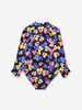 Long Sleeved Floral Kids Swimsuit-Girl-6-12y-Blue