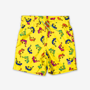 Lizard Print Kids Swim Shorts-Boy-1-6y-Yellow