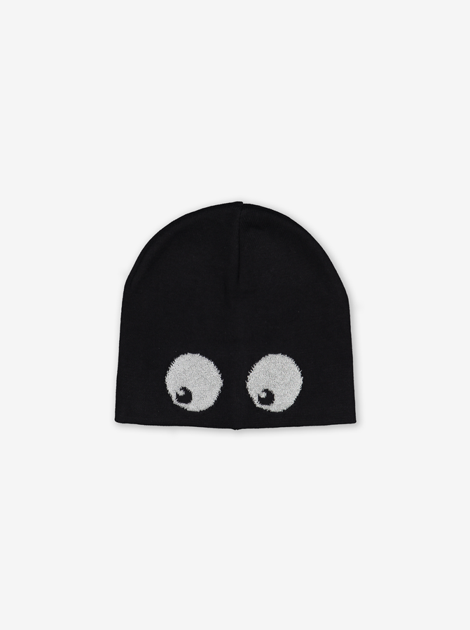 Kids Reflective Beanie Hat-Unisex-Black-4m-9y