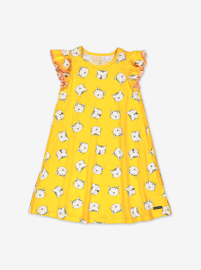 Nightgown With Cat Print-Girl-1-6y-Yellow