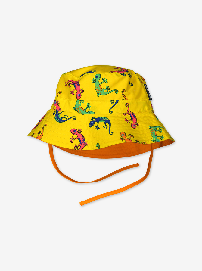 Reversible sun hat with UV protection-Unisex-9m-9y-Yellow