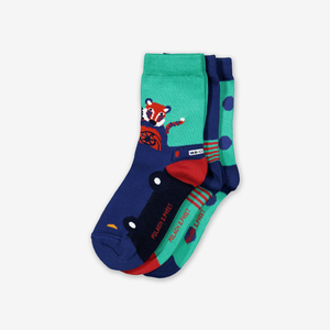 3 Pack Kids Socks-Boy-1-8y-Turquoise