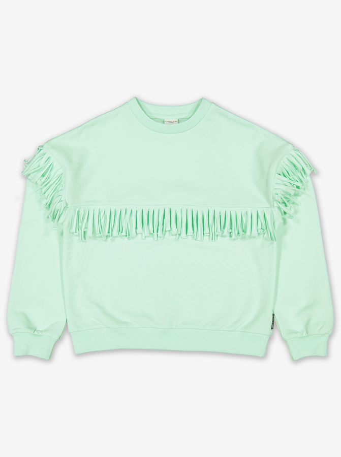 Fringed Kids Sweatshirt-Girl-6-12y-Turquoise