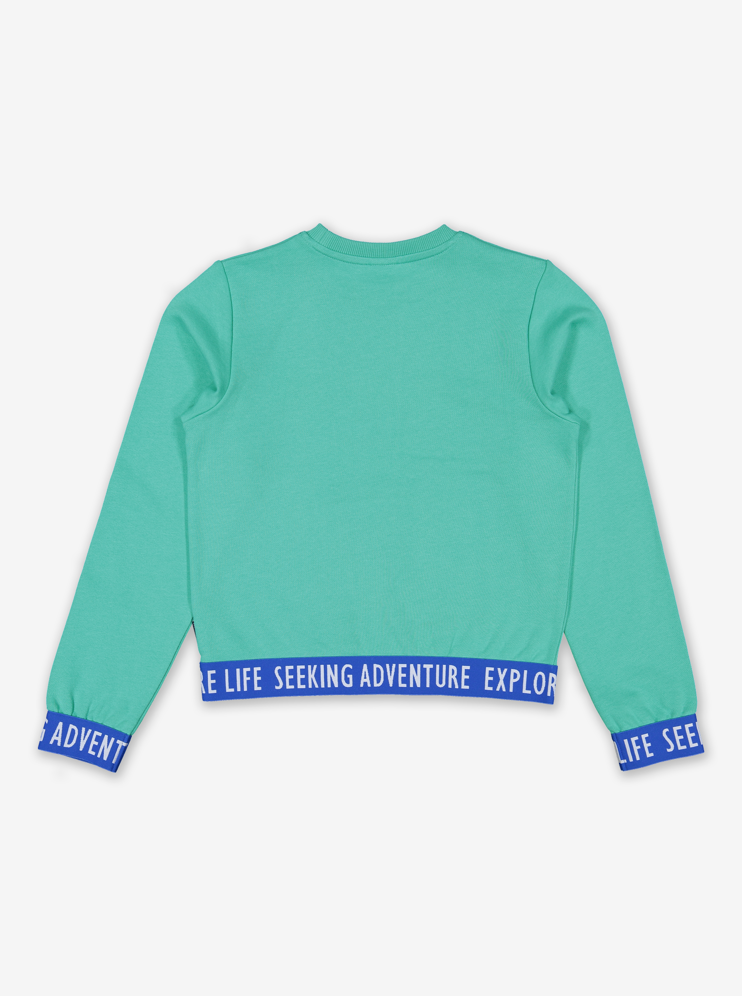 Cropped Sweat Top-Girl-6-12y-Turquoise