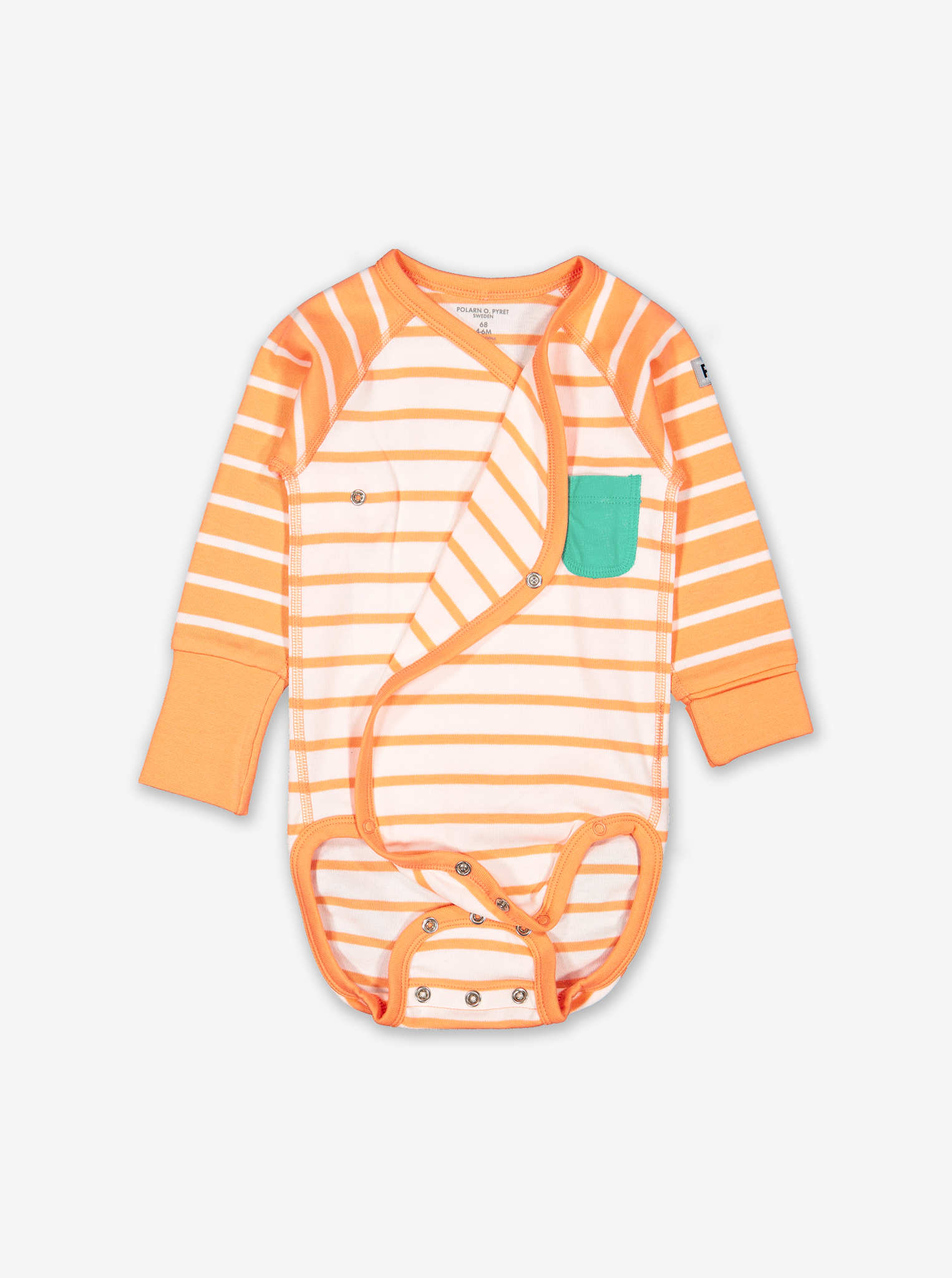 Striped Wraparound Baby Bodysuit-Unisex-0-6m-Orange