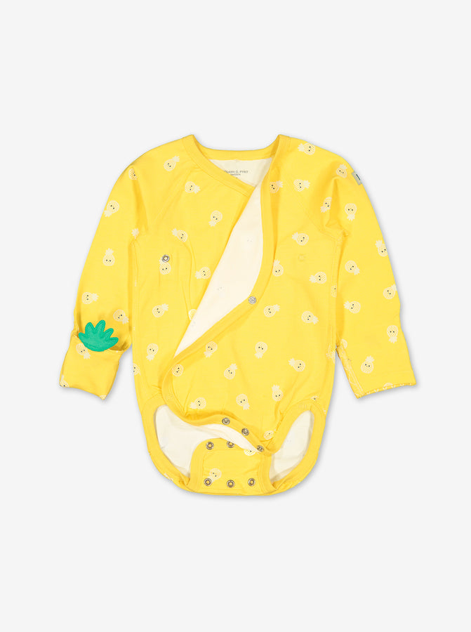 Pineapple Print Wraparound Baby Bodysuit