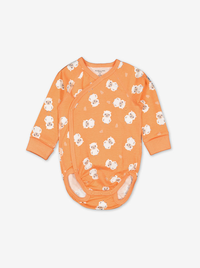 Little Lamb Wraparound Baby Bodysuit