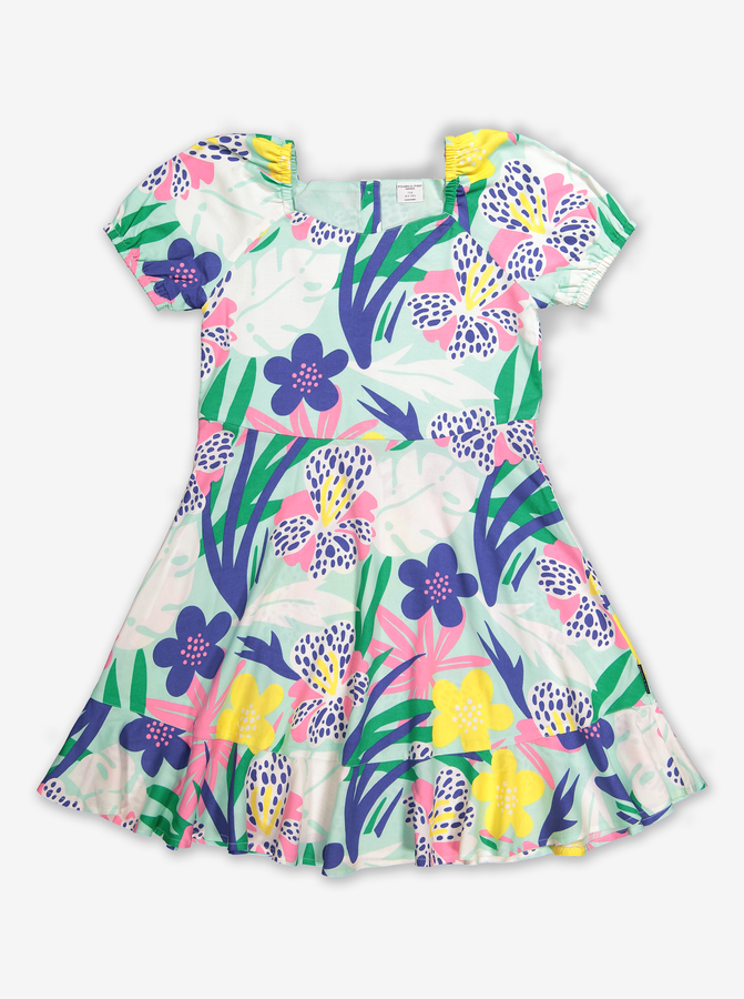 Tropical Floral Kids Dress-Girl-6-12y-Turquoise