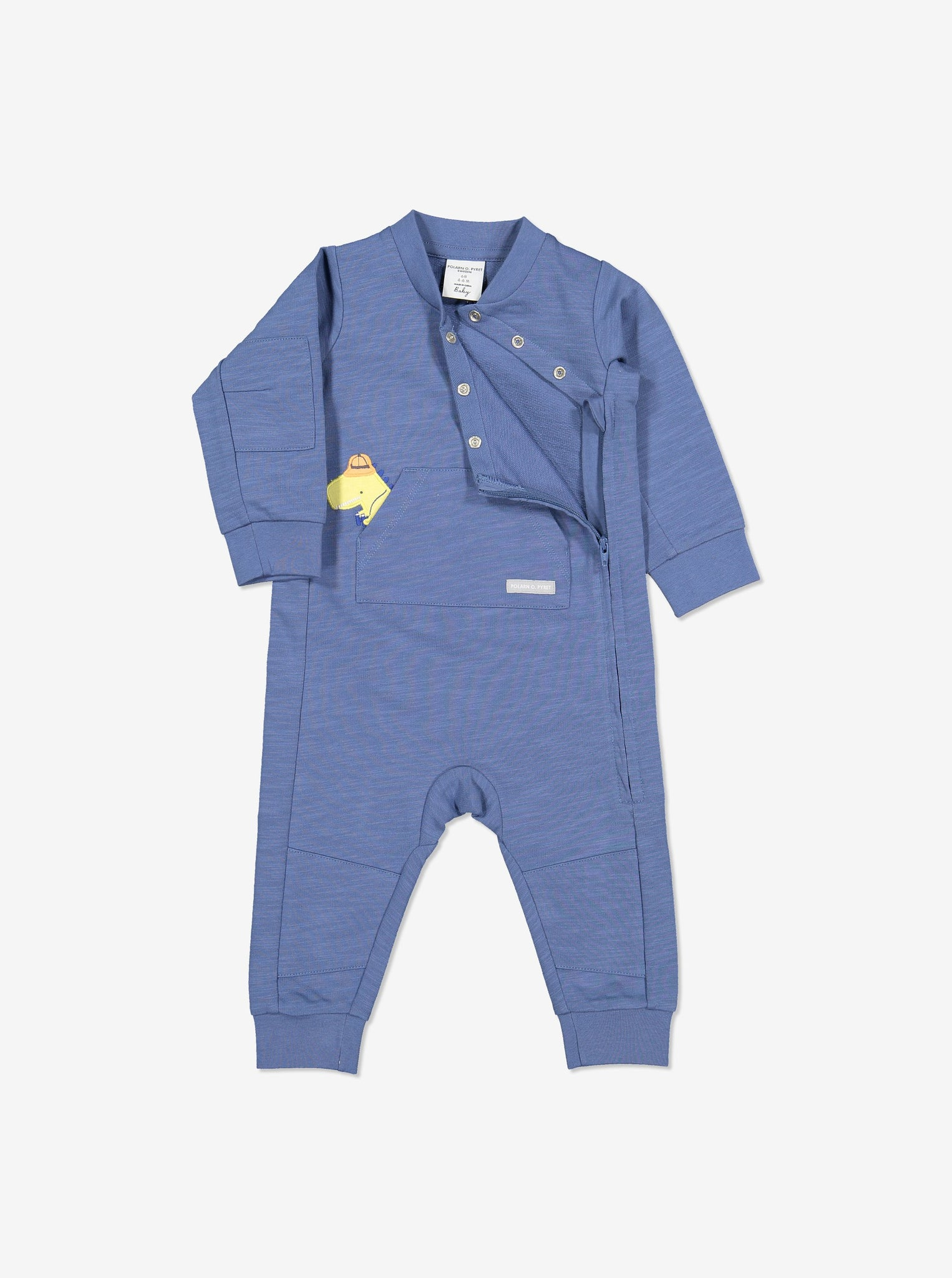 Dinosaur Applique Kids Romper-Unisex-2m-1y-Blue
