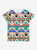 Aztec Print Kids T-Shirt-Boy-6-12y-White