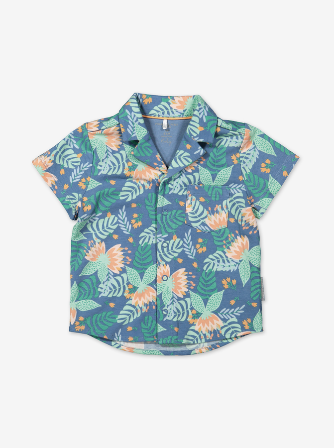 Tropical Print Baby Shirt-Boy-0-1y-Turquoise