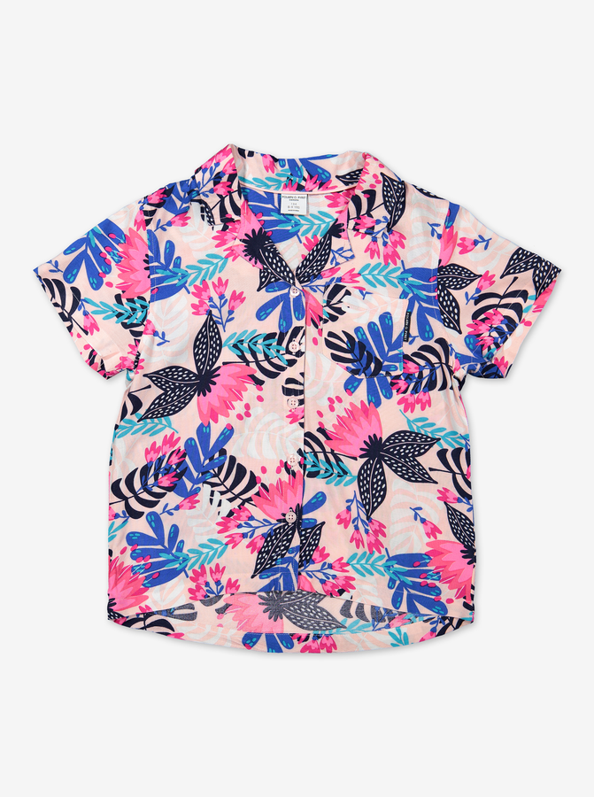 Petal Print Kids Blouse-Girl-6-12y-Pink