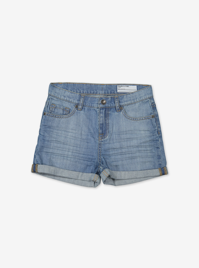 Denim Kids Shorts-Girl-6-12y-Blue