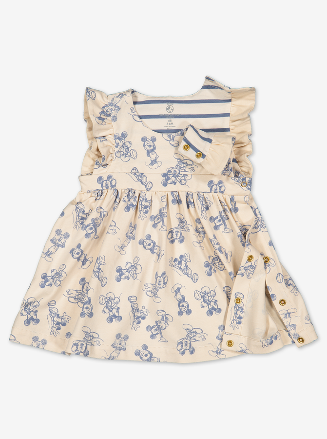 Mickey Mouse Baby Dress-Girl-0-1y-Beige