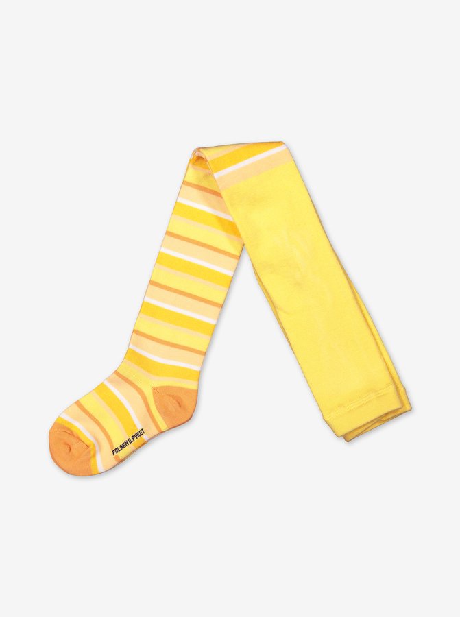 Striped Kids Tights-Girl-1-12y-Yellow