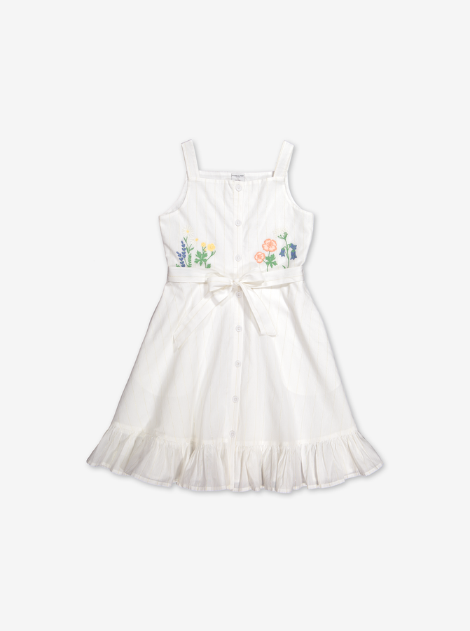 Flower Embroidered Kids Dress-Girl-6-12y-White