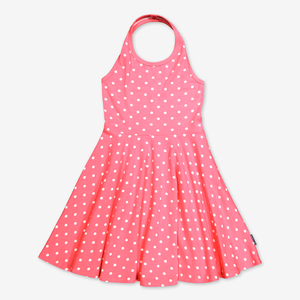 Polka Dot Halterneck Kids Dress-Girl-6-12y-Pink