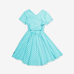 Stripe twirl dress-Girl-1-12y-Turquoise