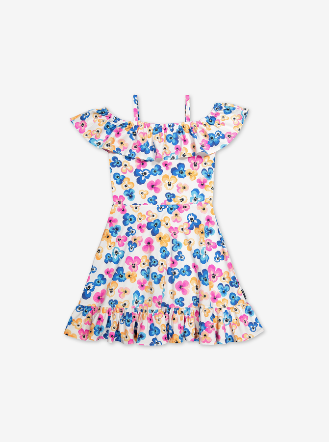 Floral Print Kids Dress-Girl-6-12y-White
