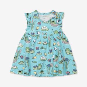 Pond Print Baby Dress & Shorts Set