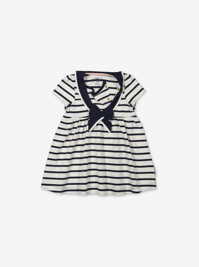 Stripe sailor dress for baby-Girl-0-1y-White