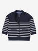 Organic cotton zipped baby sweatshirt. In classic navy and white stripes shown with zip half open.