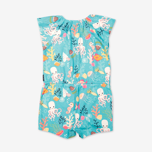 Playsuit with underwater print-Girl-1-6y-Turquoise